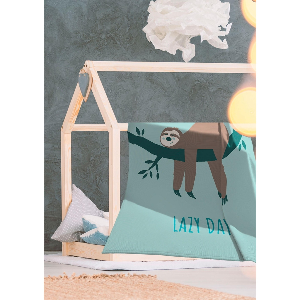 BIEDERLACK Wohndecke »Lazy Days«, mit einem Faultier