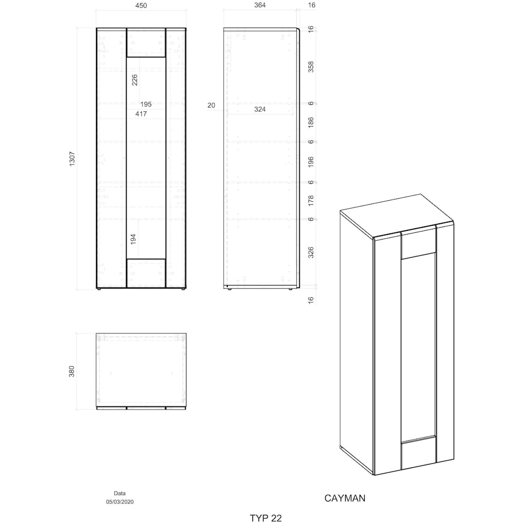 Places of Style Vitrine »CAYMAN«, Im modernen Design