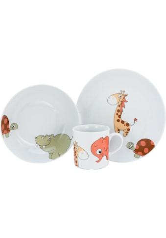 Lüttenhütt Kindergeschirr-Set »Lasse«, (Set, 3 tlg.), Dekor mit lustigen Tieren in... kaufen