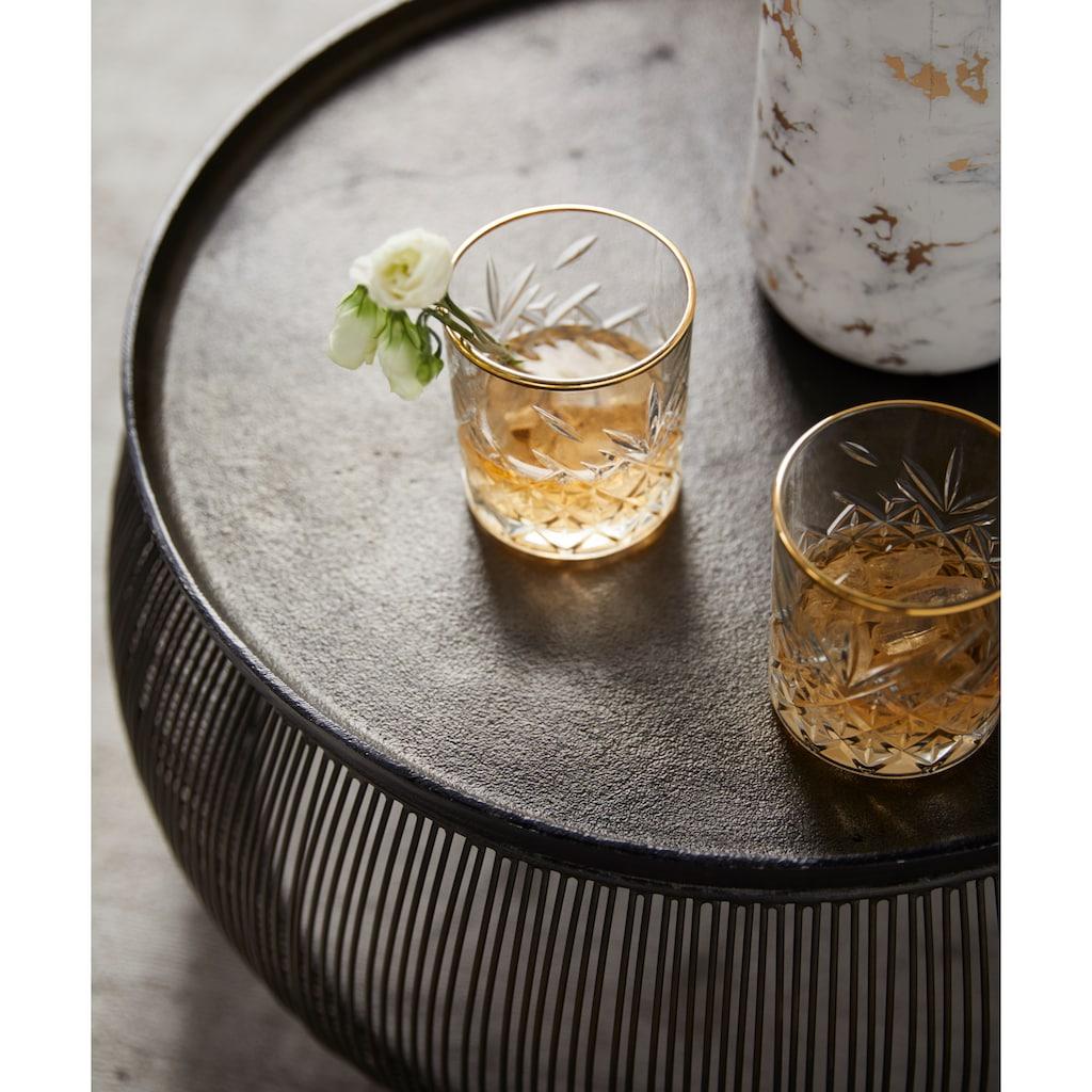 Leonique Whiskyglas »Orne«, (Set, 6 tlg.), mit ausdrucksstarkem Relief und Goldrand, 340 ml, 6-teilig
