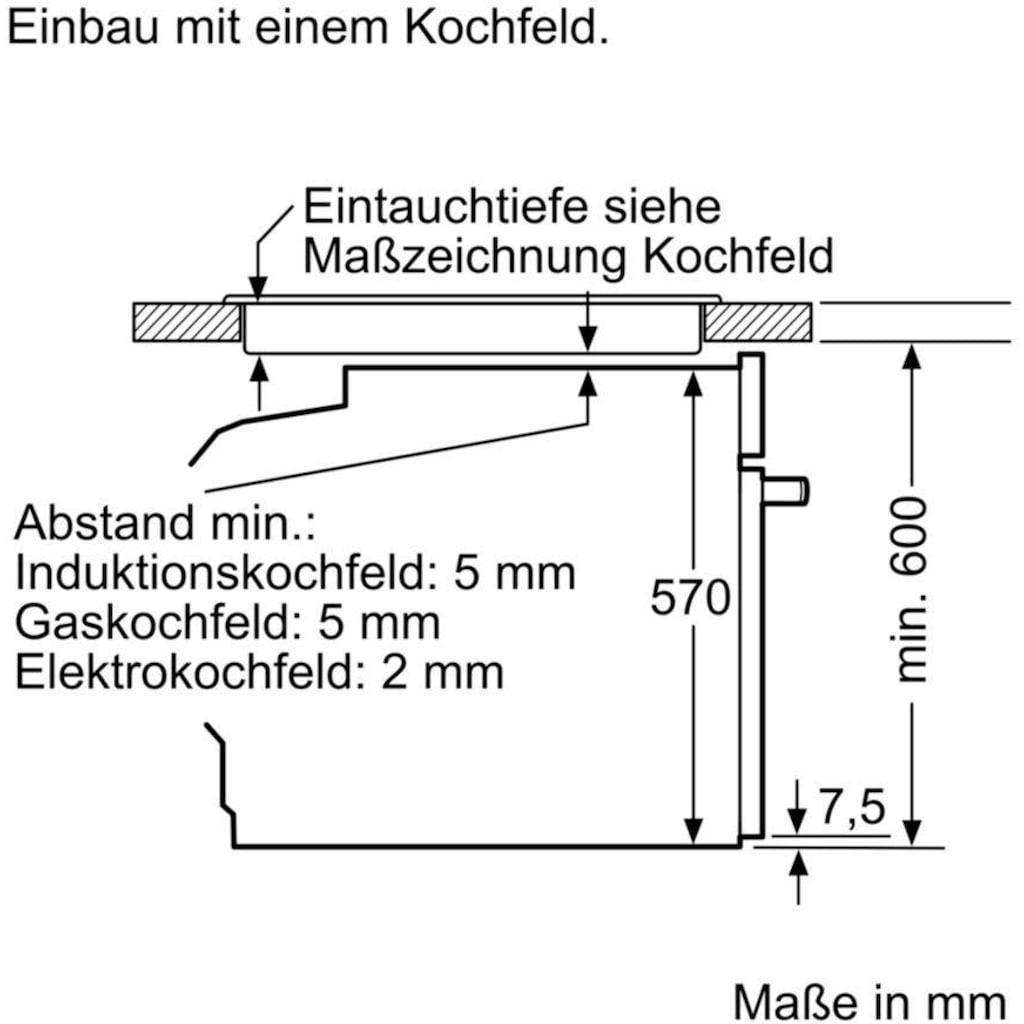 BOSCH Einbaubackofen »HBA533BW1«, 4, HBA533BW1, mit Teleskopauszug nachrüstbar, ecoClean Direct