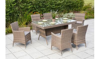 MERXX Diningset »Teneriffa«, 13 - tlg., 6 Sessel, 1 Tisch 160x90 cm, Aluminium kaufen
