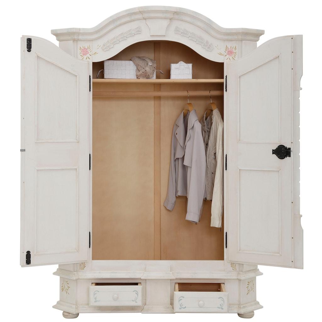 Premium collection by Home affaire Drehtürenschrank »Taunus«, aus massivem Fichtenholz, mit dekorativen Blumenprint auf den Fronten, Höhe 189 cm
