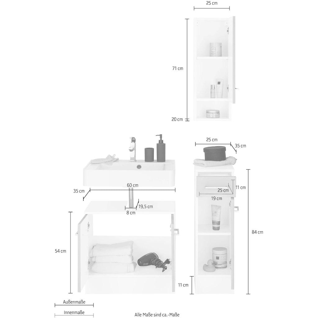 HELD MÖBEL Badmöbel-Set »Ribera«, (3 St.), Waschplatz, Hängeschrank, Unterschrank