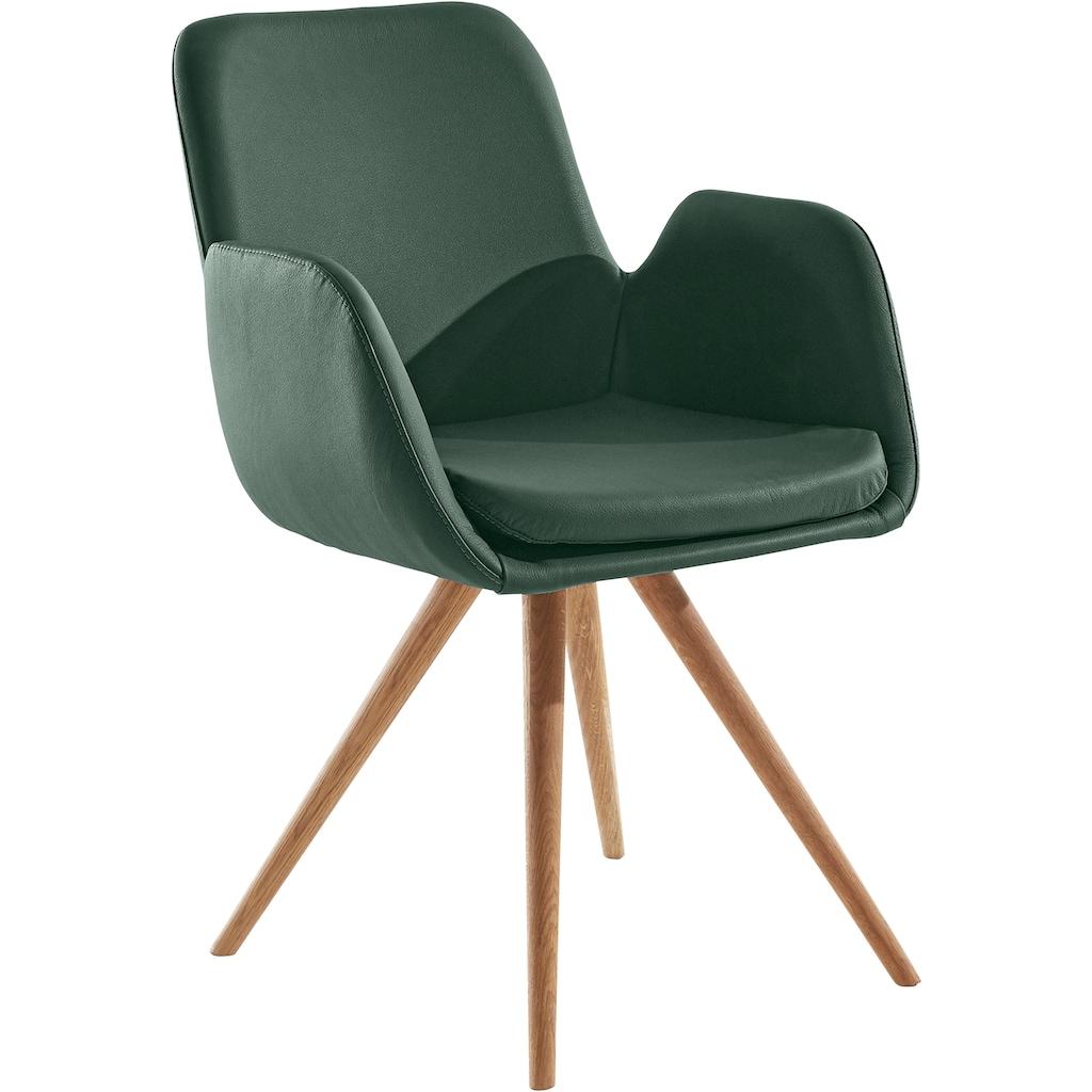 Armlehnstuhl »Malmö«, (2 Stück), Bezug in Strukturstoff oder Leder das Gestell aus Eiche Massivholz geölt