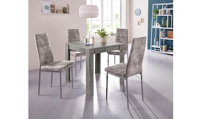 my home Essgruppe, (Set, 5 tlg.), mit Esstisch »Lynn«, Breite 80 cm und 4 x Stuhl »Kate« kaufen