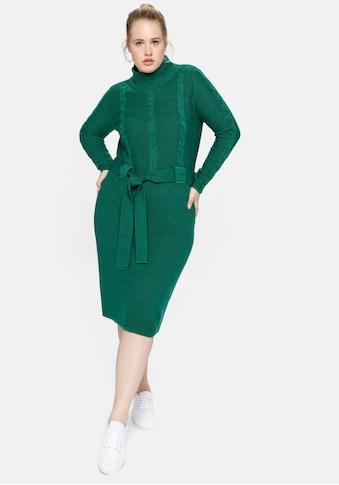 Sheego Strickkleid, mit Stehkragen und Gürtel kaufen
