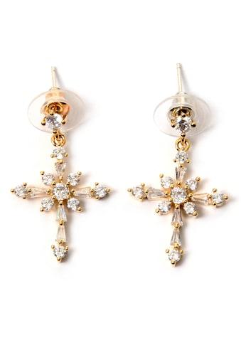 J.Jayz Paar Ohrstecker »Kreuz, symbolhaft, zeitlos«, mit Glassteinen kaufen