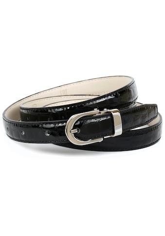 Anthoni Crown Ledergürtel, Schmaler Lackledergürtel mit Kroko-Prägung kaufen