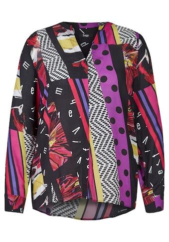 FRAPP Extravagante V-Bluse mit Mustermix Plus Size kaufen