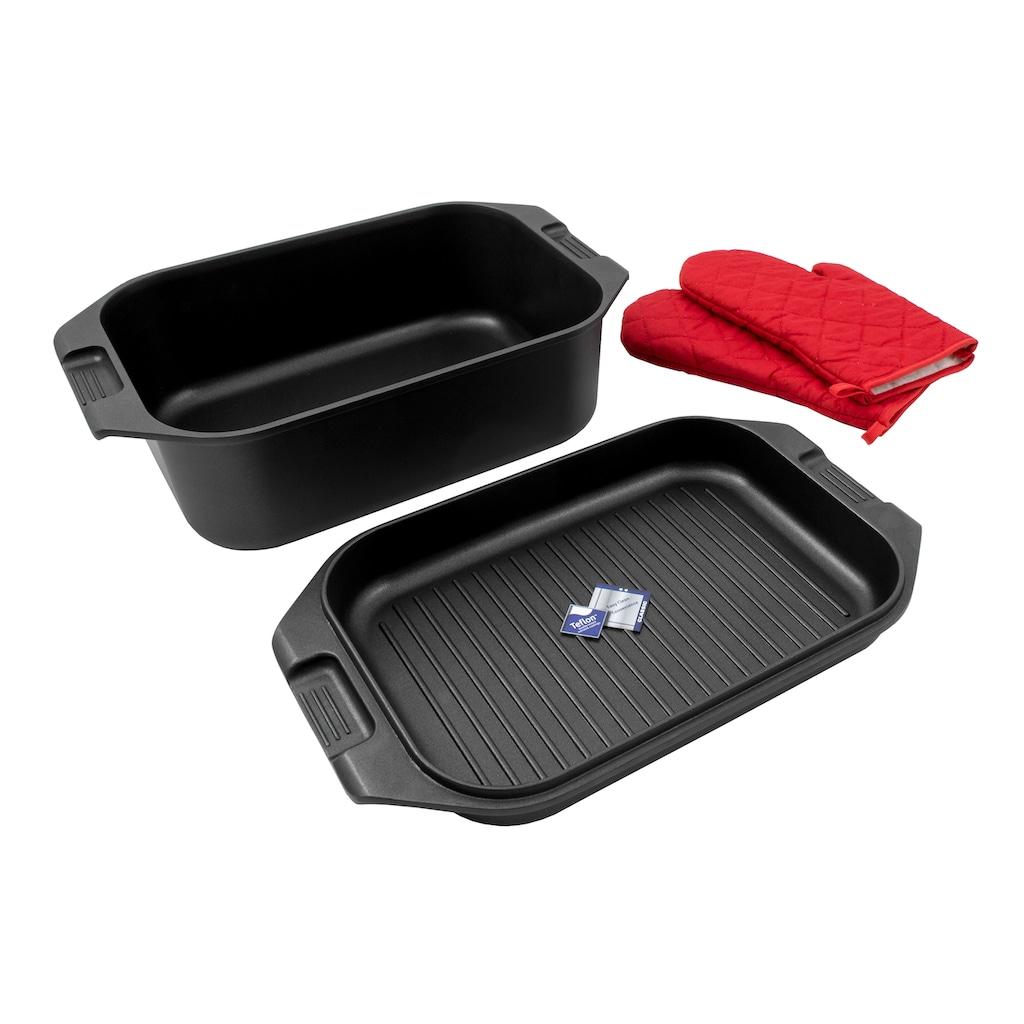 Karcher Bräter »Aluguss 2in1«, Aluminiumguss, (Set), inkl. Grillpfanne und Topfhandschuhe