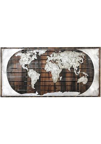 GILDE GALLERY Metallbild »Bild - Kunstobjekt Erde auf Holz«, Weltkarte, (1 St.), aus... kaufen
