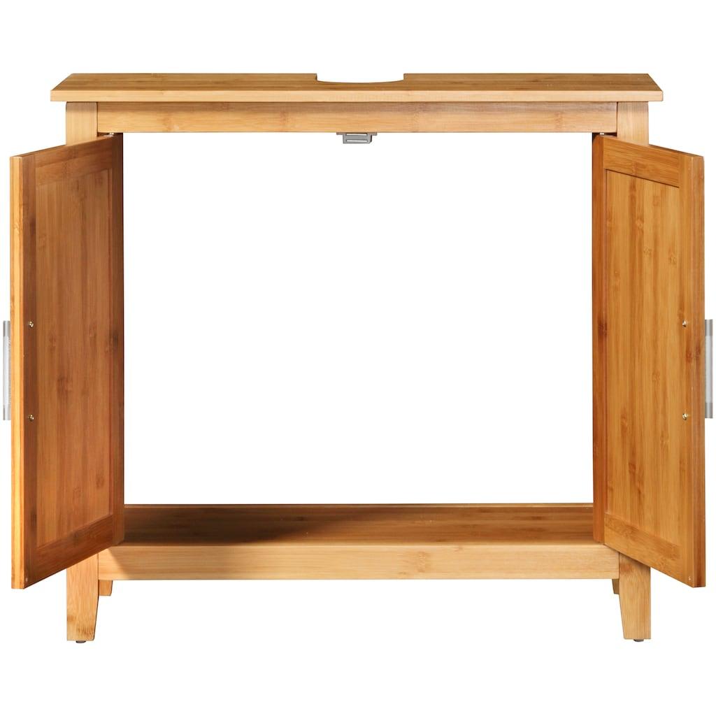 welltime Waschbeckenunterschrank »Bambus«, Badschmöbel mt Siphonausschnitt, Breite 67 cm
