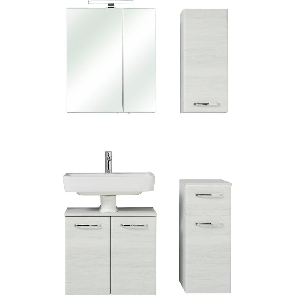 PELIPAL Badmöbel-Set »Quickset 936«, (Set, 4 St.), Spiegelschrank inkl. LED-Beleuchtung, Metallgriffe, Türdämpfer
