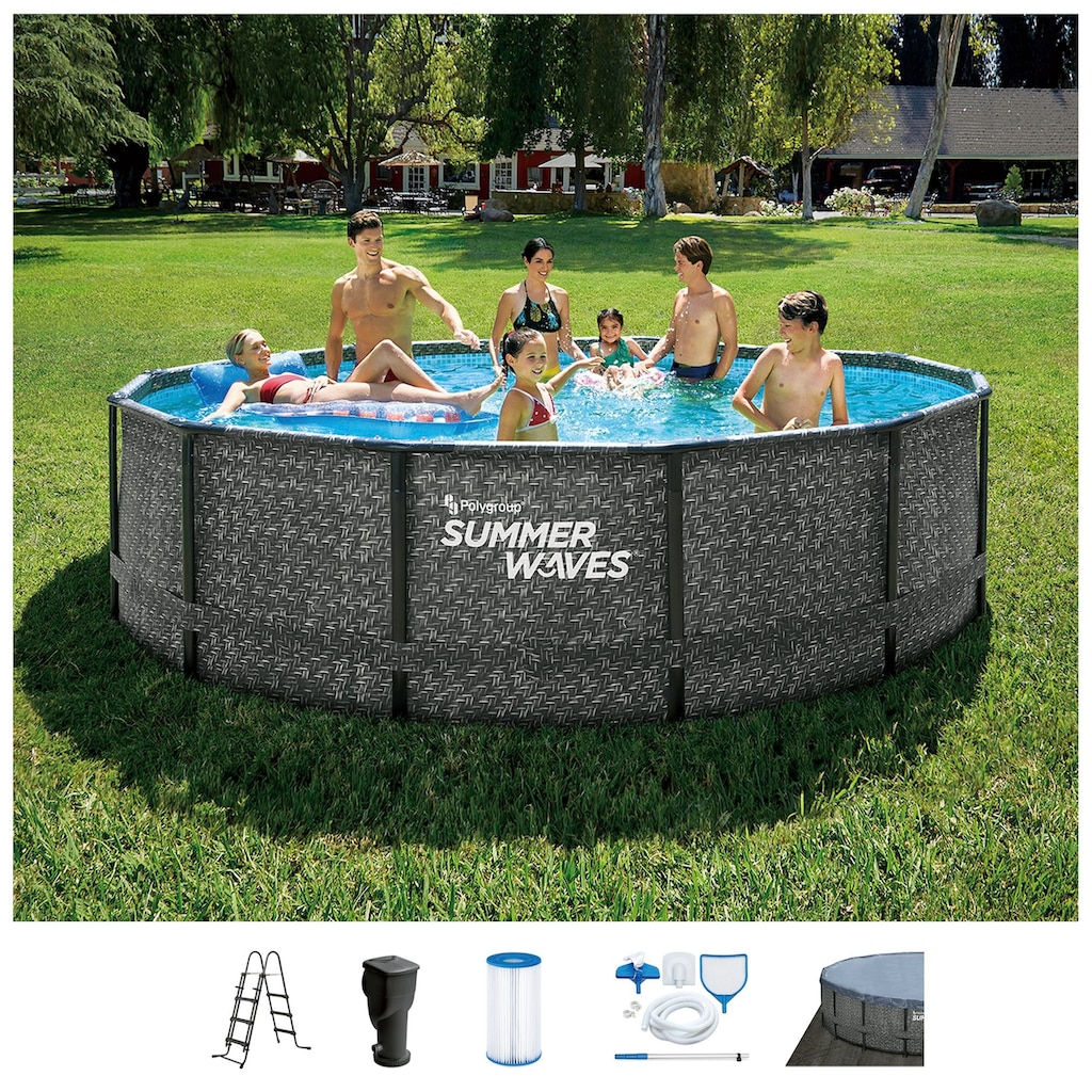 SummerWaves Rundpool »Elite«, (Set, 7 tlg.), ØxH: 427x107 cm