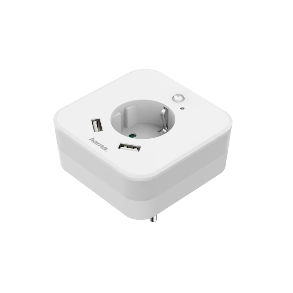 Hama LED Nachtlicht »2 Ausgänge, Helligkeitssensor«, Tageslichtweiß, mit Steckdose und USB 2.4A