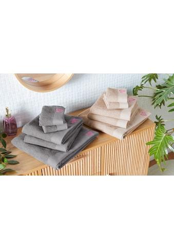 COUCH♥ Handtuch Set »Voll Flauschig«, mit farblich abgesetzter Herz Stickerei kaufen