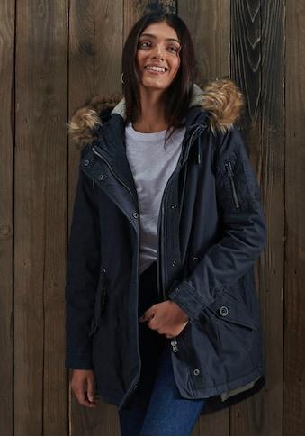 Superdry Fellimitatjacke »FIELD PARKA«, gefütterter, klassischer Winterparka aus Baumwolle kaufen
