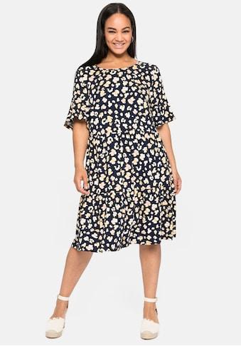 Sheego Jerseykleid, mit Alloverdruck und Volants kaufen