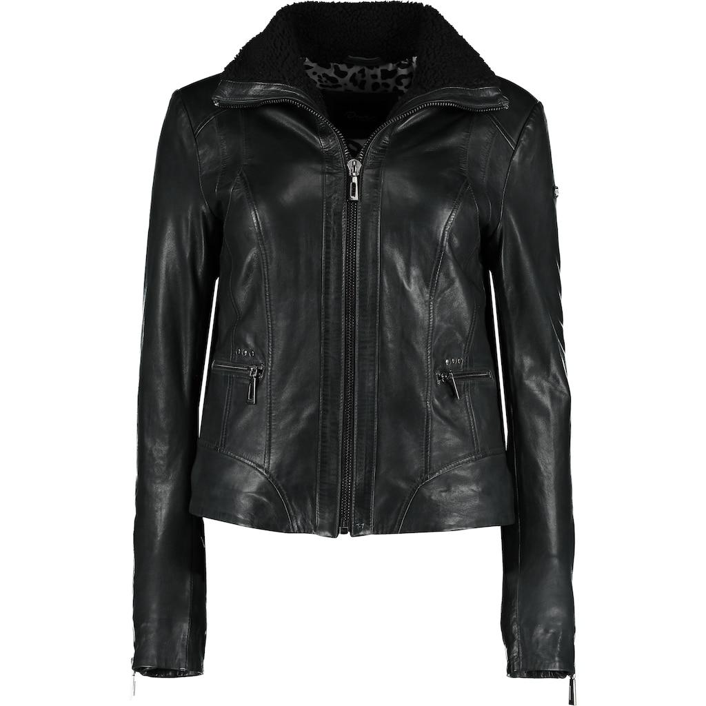 DNR Jackets Lederjacke, mit Reißverschluss und Kontrastfutter