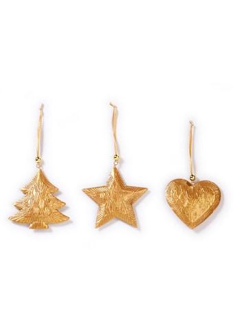 CHRISTMAS GOODS by Inge Dekohänger »Herz, Stern, Baum«, 3-fach sortiert, goldfarben kaufen