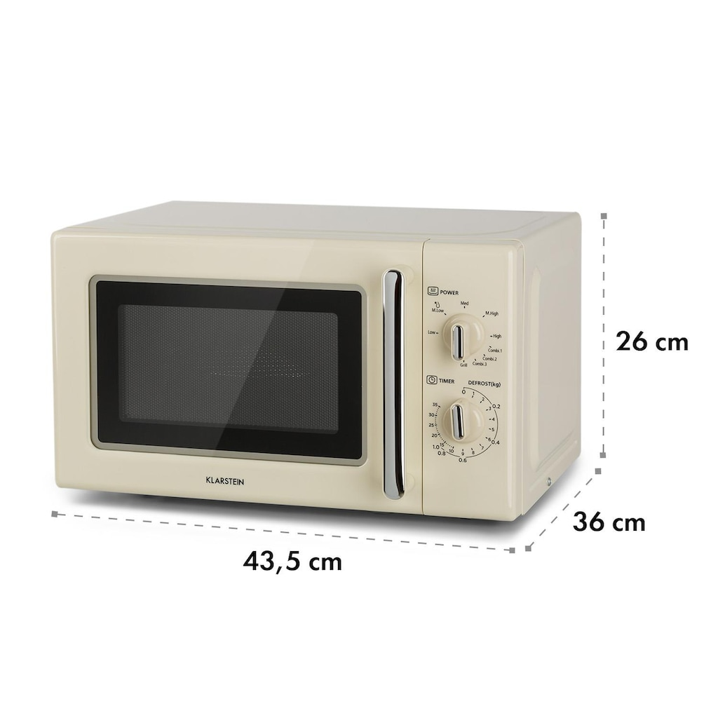 Klarstein Retro Mikrowelle Mikrowellenofen Grill Timer 20l 1000W Ø25,5cm