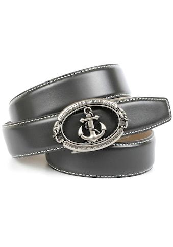 Anthoni Crown Ledergürtel, mit stilisiertem Anker und weißer Ziersteppung kaufen