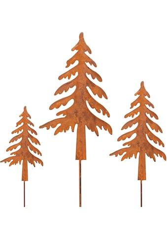my home Gartenstecker »Tannenbaum«, (Set, 3 St.), in Rostoptik, Höhe ca. 50 cm + 70 cm... kaufen