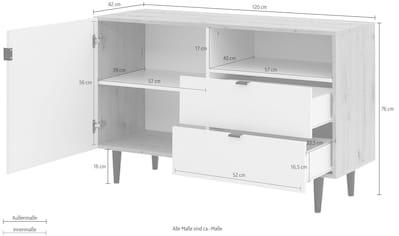 my home Sideboard »Legro«, mit schwarz lackierten Buchenholzbeinen, Zweifarbigkeit,... kaufen