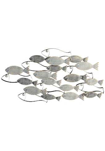 GILDE Wanddekoobjekt »Wandrelief Pesce grau/schwarz/goldfarben«, Wanddeko, aus Metall,... kaufen