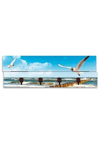 Artland Garderobenpaneel »Ostsee«, platzsparende Wandgarderobe aus Holz mit 4 Haken,... kaufen