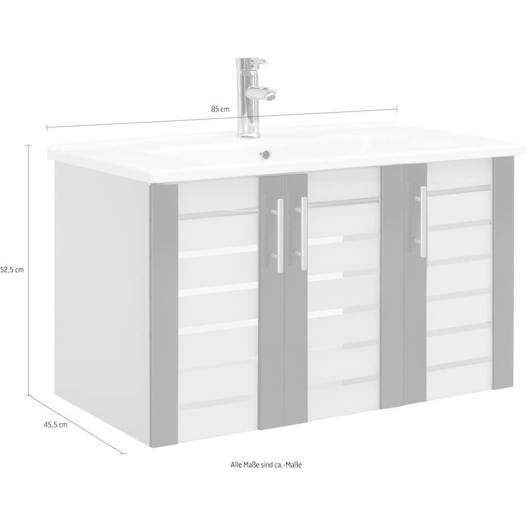 Schildmeyer Waschbeckenunterschrank »Nikosia«, Breite 85 cm, mit Keramikwaschbecken, 3 Glastüren, Metallgriffe