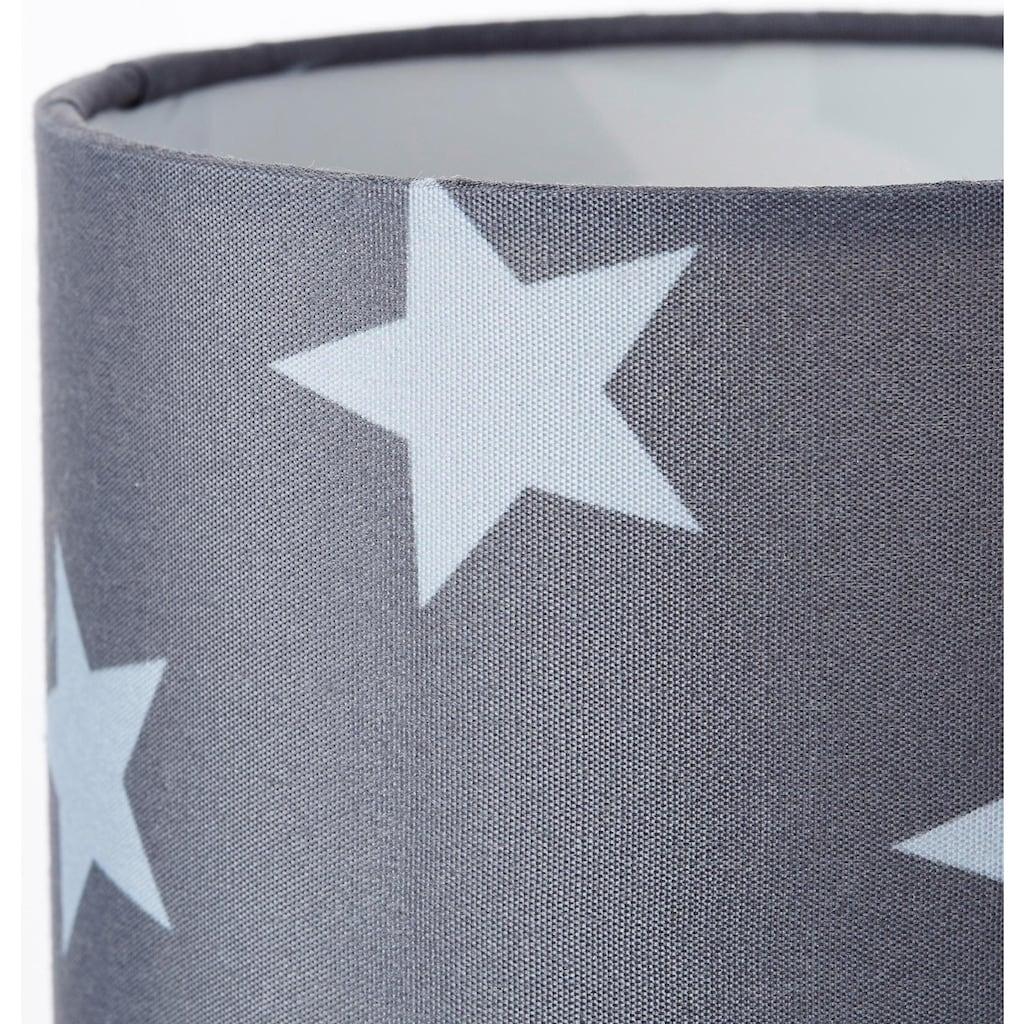 Lüttenhütt Tischleuchte »Steern«, E14, Tischlampe mit Sterne - Stoffschirm Ø 12 cm, grau / hellgrau, Touch Dimmer