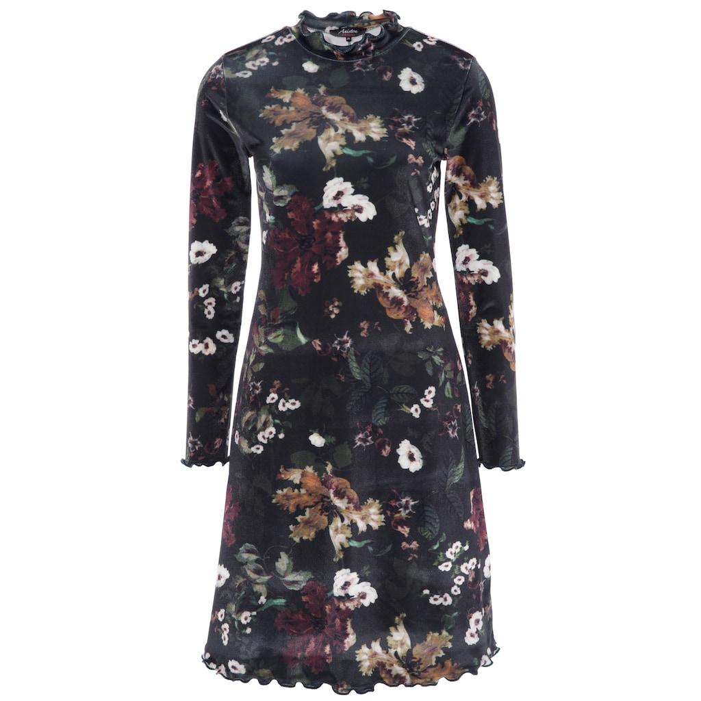 Aniston CASUAL Samtkleid, mit schimmerndem Blumendruck