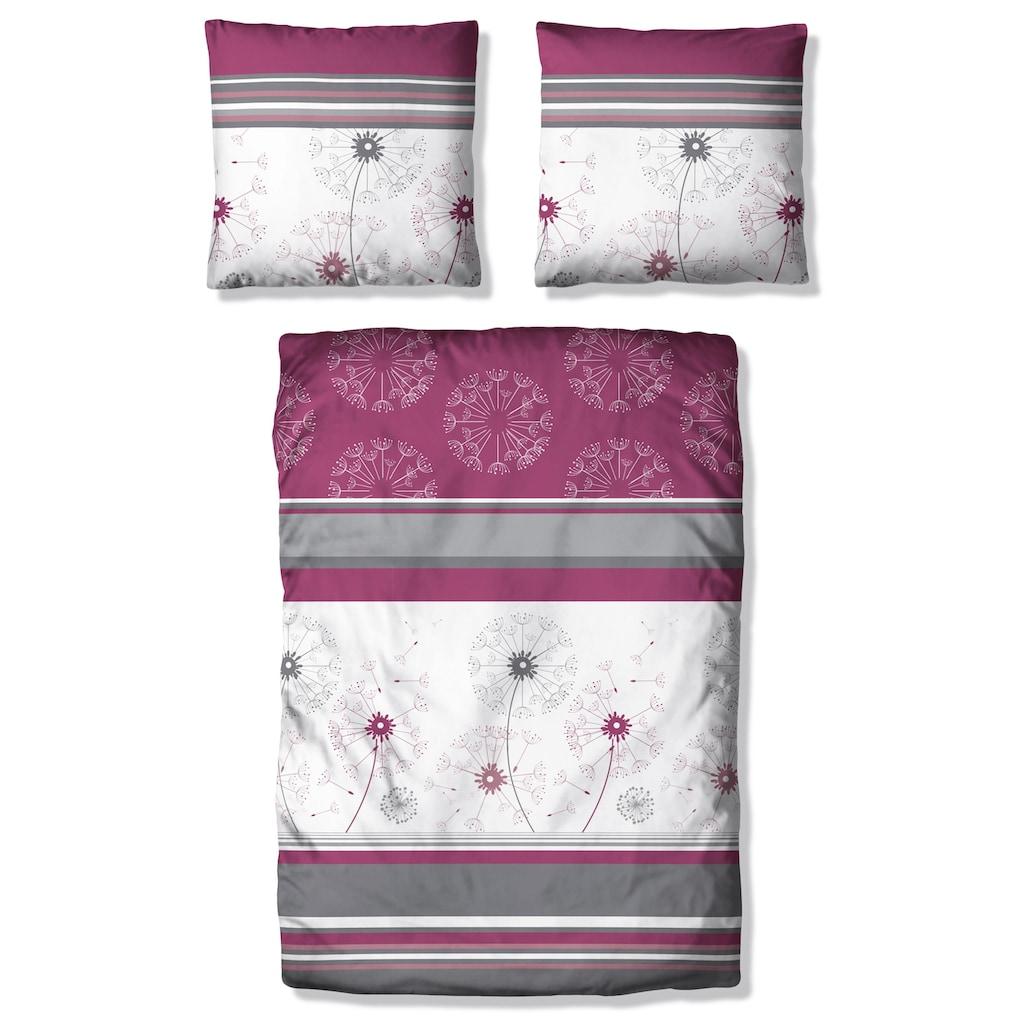 my home Bettwäsche »Millas«, mit Streifen und zartem Blumenmuster