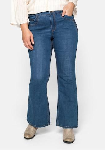 Sheego Stretch-Jeans, mit weit ausgestelltem Saum und Catfaces kaufen