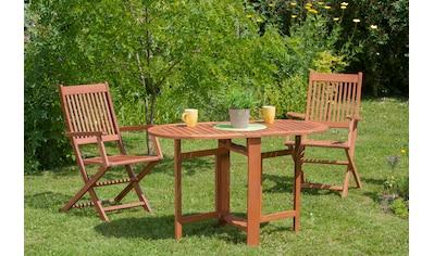 MERXX Gartenmöbelset »Rio«, 3tlg., 2 Sessel, Tisch, klappbar, Eukalyptus kaufen