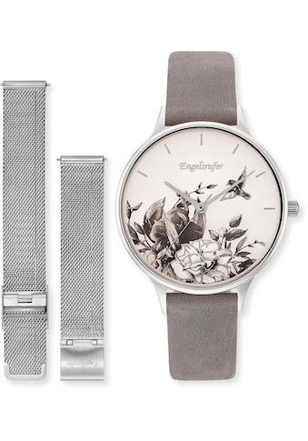 Engelsrufer Quarzuhr »Blume, ERWO-FLOWER-01«, (Set, 2 tlg., Set Uhr Blume silber mit... kaufen