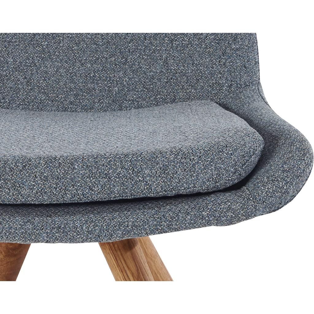 Schalenstuhl »Malmö«, (2 Stück), Bezug in Strukturstoff oder Leder und das Gestell in Eiche Massivholz geölt