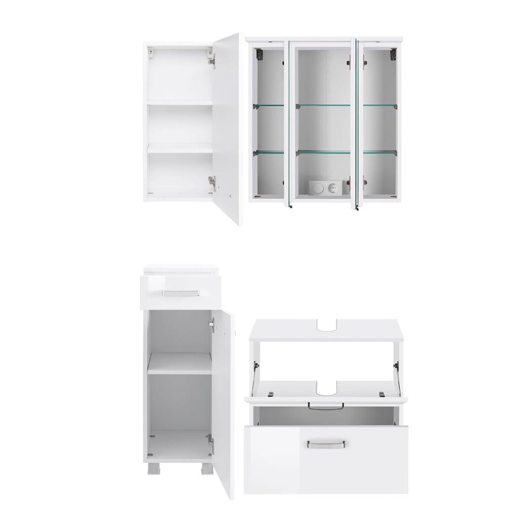 HELD MÖBEL Badmöbel-Set »Ravenna«, (4 St.), Hängeschrank, Unterschrank, Spiegelschrank, Waschbeckenunterschrank