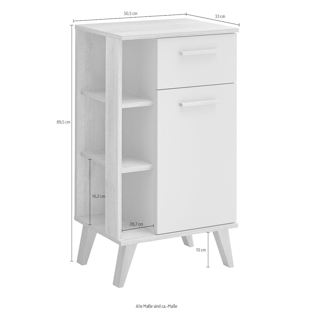 PELIPAL Unterschrank »Quickset 963«, Breite 50,5 cm, seitliche offenes Regal, Holzgriffe, Türdämpfer, Glaseinlegeboden