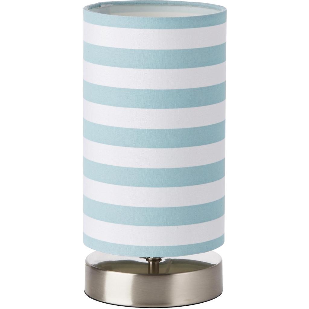 Lüttenhütt Tischleuchte »Striepe«, E14, Tischlampe mit Streifen - Stoffschirm Ø 12 cm, blau / weiß gestreift, Touch Dimmer