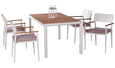 BEST Gartenmöbelset »Dakar«, 4 Sessel, 4 Sitzkissen, Tisch 160x90 cm kaufen
