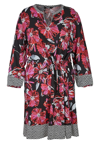 FRAPP Topmodisches Blusen-Kleid mit Allover-Mustermix Plus Size kaufen