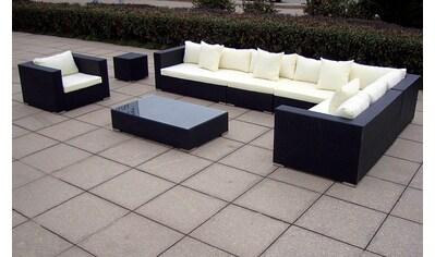 BAIDANI Loungeset »Sunmaster«, 1 XXL Sofa, 1 Sessel, 1 Tisch, 1 Beistelltisch, Polyrattan kaufen