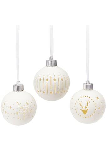 LED Dekoobjekt »Kugel-Set Weihnachten«, 3 St., Warmweiß, mit X-Mas Motiven, 3-tlg. Set kaufen