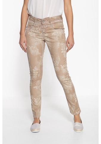 ATT Jeans Slim-fit-Jeans »Zoe«, mit Oilwash-Effekt und floralem Muster kaufen