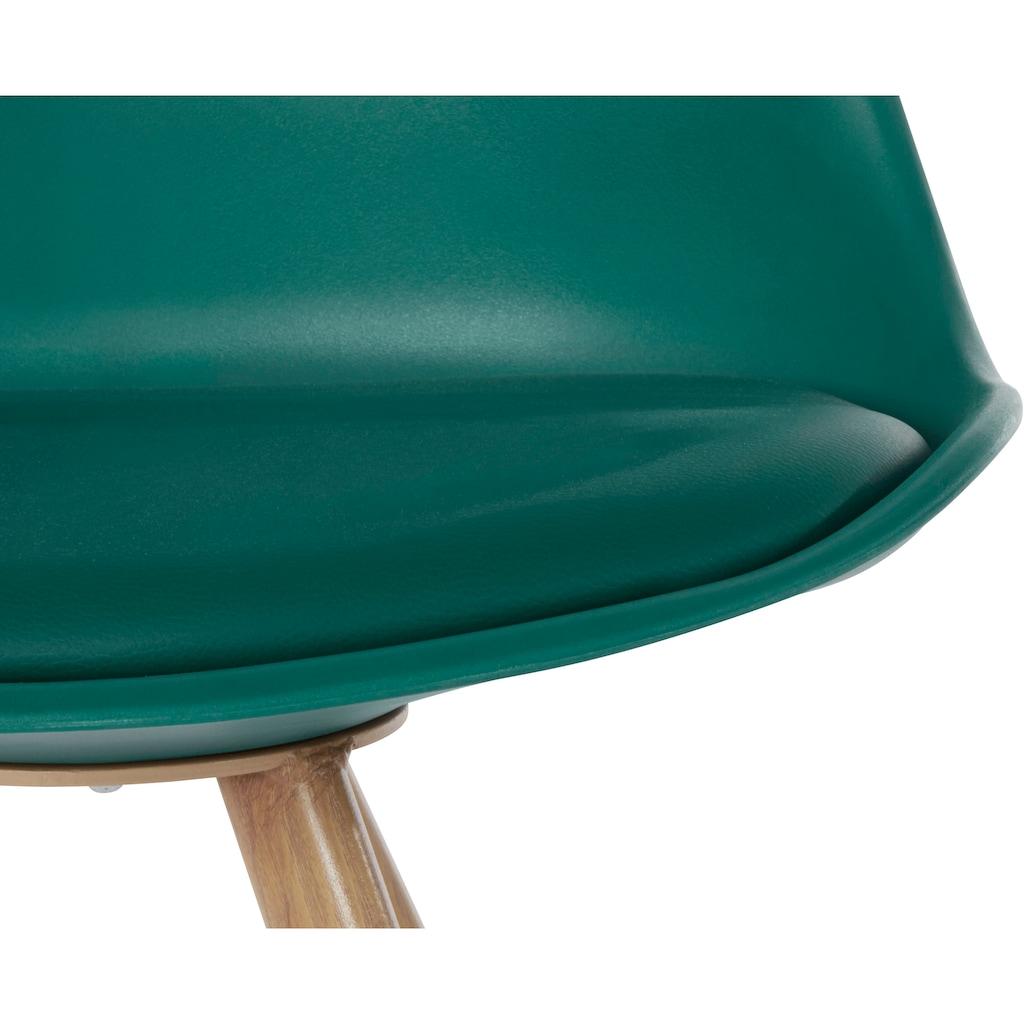 INOSIGN Esszimmerstuhl »Lazio«, 2er Set, aus einem schönen Metallgestell in Holzoptik, in unterschiedlichen Trendfarben erhältlich