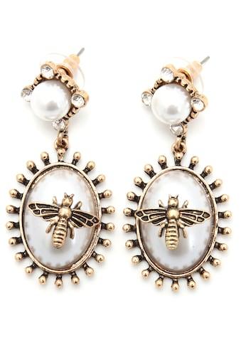 J.Jayz Paar Ohrstecker »Biene, im Vintage-Look«, mit Acrylperlen und Glassteinen kaufen