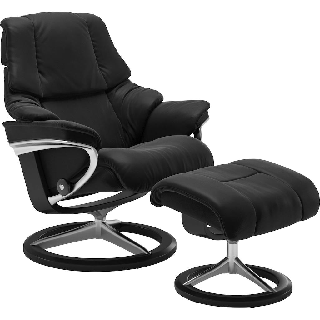 Stressless® Relaxsessel »Reno«, mit Hocker, mit Signature Base, Größe S, M & L, Gestell Schwarz